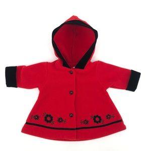 Sassy & Chic Red Pea Coat w/ Velvet Trim Size 6 Mo